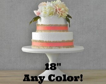 "ANY COLOR 18"" Wedding Pedestal Cake Stand Cupcake Rustic Wooden Wedding Decor By E. Isabella Designs. As Featured In Martha Stewart Weddings"