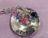 Grandma's necklace,Hand stamped necklace..Grandma's Bowl of Joy-  personalized charm necklace, with up to 6 Swarovski birthstone crystals.