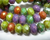 25 8x6mm Luster Mix - Picasso Czech glass Rondelle beads