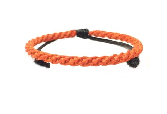Skinny Neon Orange Braided Cord Thai Buddhist Wristband Mens Cotton Bracelet Handcrafted Wristwear