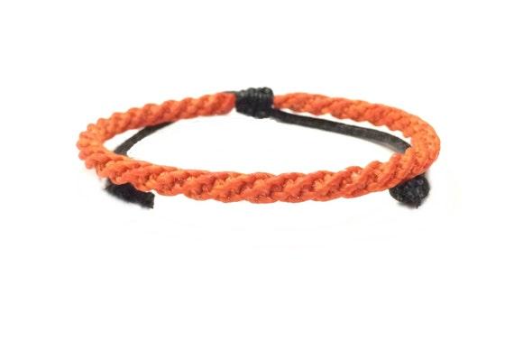 Skinny Neon Orange Braided Cord Thai Buddhist Wristband Mens Cotton Bracelet Handcrafted Wristwear