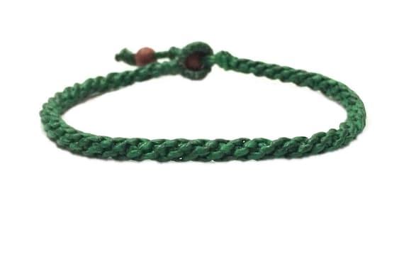 Handcrafted Classic Fair Trade Green Wax Cotton Thai Buddhist Wristband Bracelet