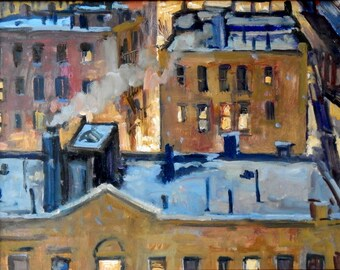 Snowy Night Rooftops, NYC Winter. Oil Painting, 11x14 Oil on Panel, American Impressionist New York City Fine Art, Signed Original