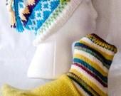 Yellow green socks and beanie, lt blue beanie, adult beanie, knitted beanie,  knitted socks, adult gift set, ready to ship