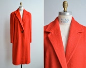 SALE / Vintage 1960s bright cherry red mohair wool coat