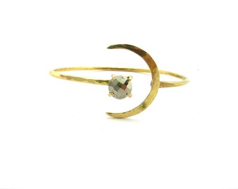 Crescent Moon And Pyrite Coin Armlet