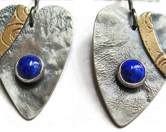 Silver Lapis Heart Earrings