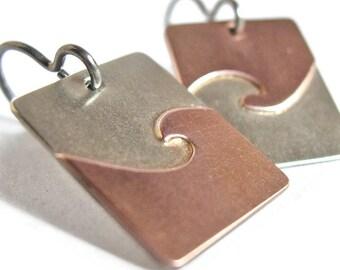 Silver Copper Zen Wave Yin Yang Earrings