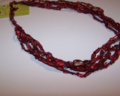 SALE 20% OFF; Ladder Yarn Necklace in Deep Red; Crochet Necklace for Women and Teen Girls; Pretty and Practical Fashion Accessory