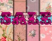 Vintage Wallpaper SALE!!! Digital Paper Pack - 8 Digital Collage Sheets - Floral Pinks (3) Digital Download - Printable Instant Download