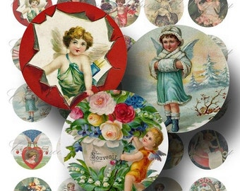 Angel & Cupid Digital Collage Sheet SALE! Vintage Victorian Cherub Romantic Love Heart Digital Download 1.5 Inch Circles #1 INSTANT Download
