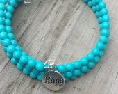 HOPE turquoise wire wrapped bracelet