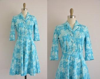 vintage 1950s dress / blue cotton print dress / 1950s dress