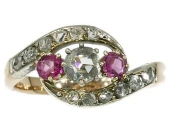 Antique Ruby Diamond Three Stone Ring Victorian Jewelry ref.13301-0077