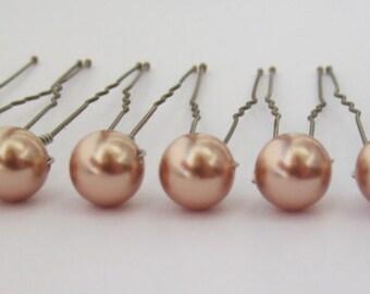 Rose Gold Hair Pins, Wedding Hair Pins, Pearl Bobby Pins, Swarovski Hair Pins, Single Pearl Hair Pins - Set of 6 Hair Pins 8mm