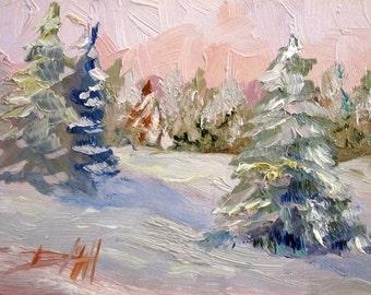 Morning Snow original oil painitng winter landscape Art by Delilah