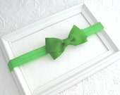 Green Bow Baby Headband, Baby Hair Bows,  Apple Green Headband, Toddler Headband, Newborn Headband, Photo Prop, Girls Hair Accessories