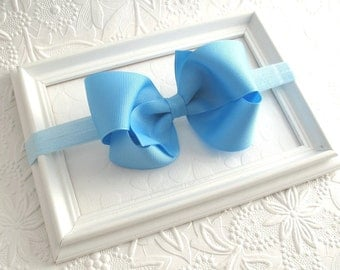 Sky Blue Hair Bow, Light Blue Baby Bow Headband, Large 4 inch Blue Bow, Hair Accessories for Baby Girls, Toddler Headband, Newborn Headband