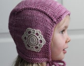 Made to Order Hand Knit Embellished PIlot Cap for Girls or Boys, Newborn-Child Sizes Available
