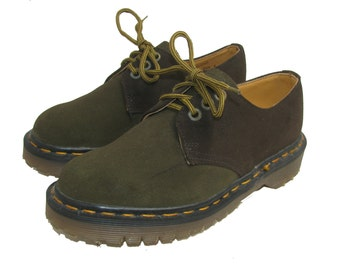 Vintage Dr Martens Shoes Womens Two Tone Olive Suede Gibson Shoes From England Wms US Size 6