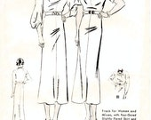 """Vintage 1930s Dress Sewing Pattern - Butterick 6684 - Missed' and Woman's Frock in Two Variations - Bust 36"""""""