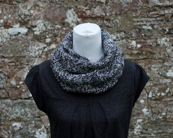 SCARF knitted chunky womens - Granite marl infinity loop scarf, knitwear UK, gift for her