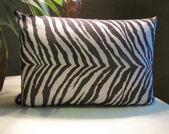 Espresso Zebra Designer Lumber Toss Pillow / Animal Print Lumbar Pillow