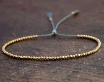Solid 10k Yellow Gold Beaded Friendship Bracelet, delicate bracelet with dainty beads with silk