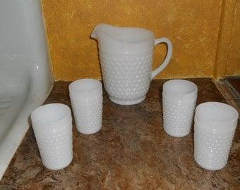 Vintage Hobnail Milk Glass Lemonade Set-Pitcher & 4 Glasses-NICE