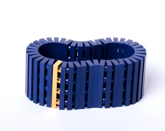 Dark blue bracelet with real gold plated brick made with LEGO bricks