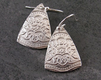Eco Friendly fine silver earrings, handmade silver triangle earrings-OOAK