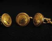 Titanic: Uniform Button Cufflinks & Lapel Pin Set - White Star Line - Brass 1912