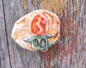 Christmas Pin Orange Christmas Light Bulb Pin Upcycled Pin Recycled Bent Bottle Cap Xmas Bulb Pin  shipping included
