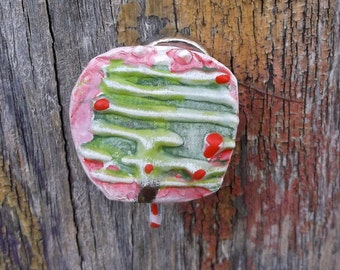 Christmas Tree Pin Funky Christmas Tree Pin Upcycled Pin Recycled Bent Bottle Cap XmasTree Pin  shipping included