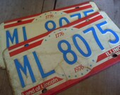 License Plates Vintage Illinois Pair of 1976 Bicentennial Rustic Retro Garage Mancave Cafe Pub Decor Wall Hanging Car Tags AMarigoldLife