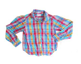 girls shirt vintage plaid children 1980s blue pink button down blouse clothing size 6