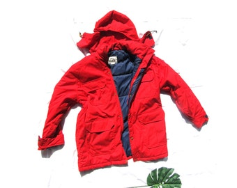 vintage jacket woolrich coat 80s red hooded mens womens clothing 1980s size extra large xl l