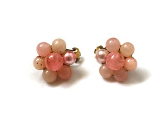 vintage earrings 50's jewelry pink clip ons cluster bead flower setting 1950's