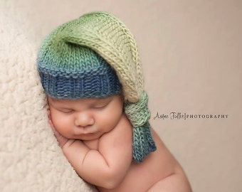 Knit Baby Hat, Photography Prop, Newborn Baby Hat, Photo Prop, Knit Photo prop, Photo Shoot Prop, Colorful Hat, Knotted Hat, Hat for Boys