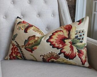 "Sale - Decorative Designer Pillow Cover - 14""X26"" - Kelmscott Maner Print in document - Pattern on the front"