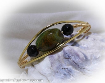 Green Vein Agate Wire Wrapped Bracelet Cuff size 7