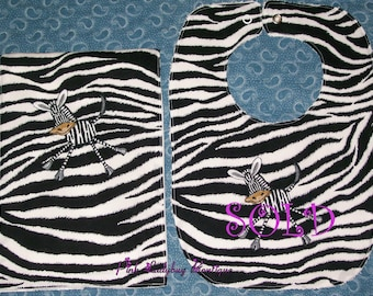 Burp Cloth - Embroidered with Silly Zebra is Ready to Ship