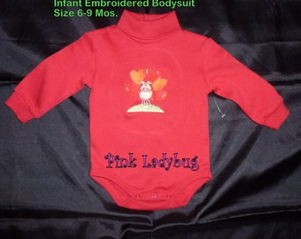 Red Long Sleeve Turtleneck Bodysuit is Ready to Ship in Size 6 to 9 Months