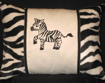 New Embroidered Black White Zebra Accent Pillow, New 12 x 16 Insert -- Item 133