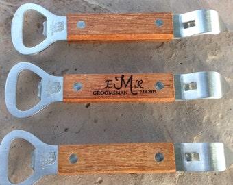 Customized wood bottle opener monogram groomsman gift