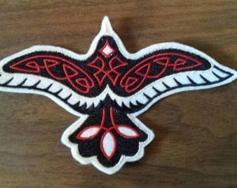 embroidered soaring raven with red celtic knot work iron on patch