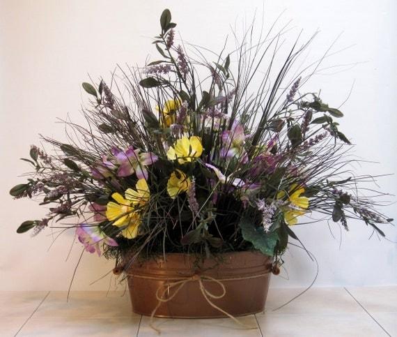 Rustic SPRING SILK FLOWER Arrangement Bronze By