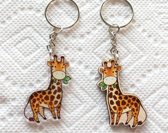 wood or acrylic cute Giraffe key chain