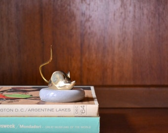 vintage brass and marble mouse paperweight