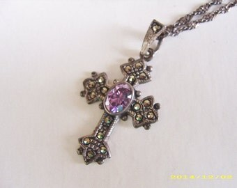 Vintage Sterling Silver Amethyst Marcasite Cross Pendant Necklace